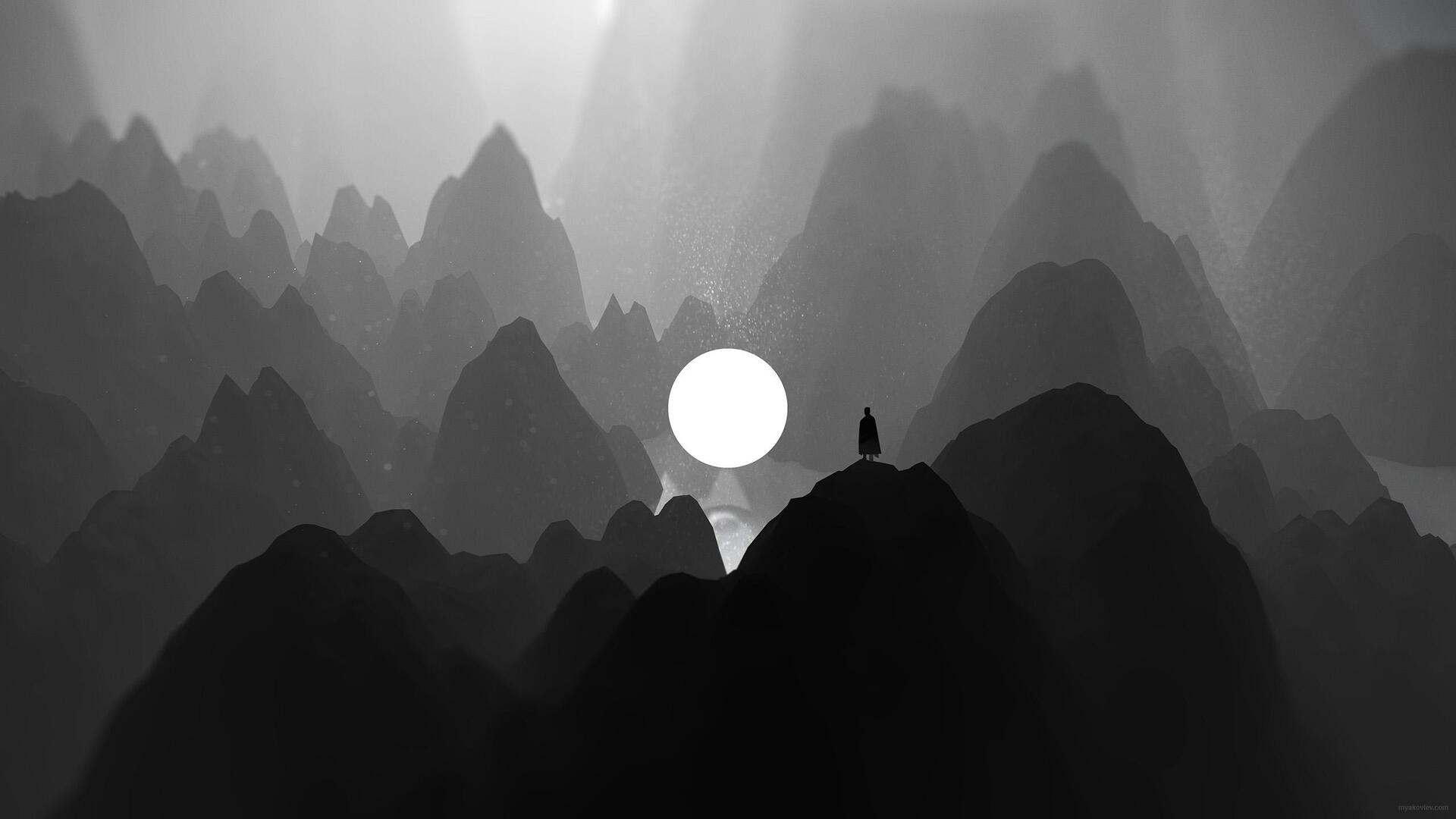 1920x1080 Black And White Moon Man Standing On Mountain