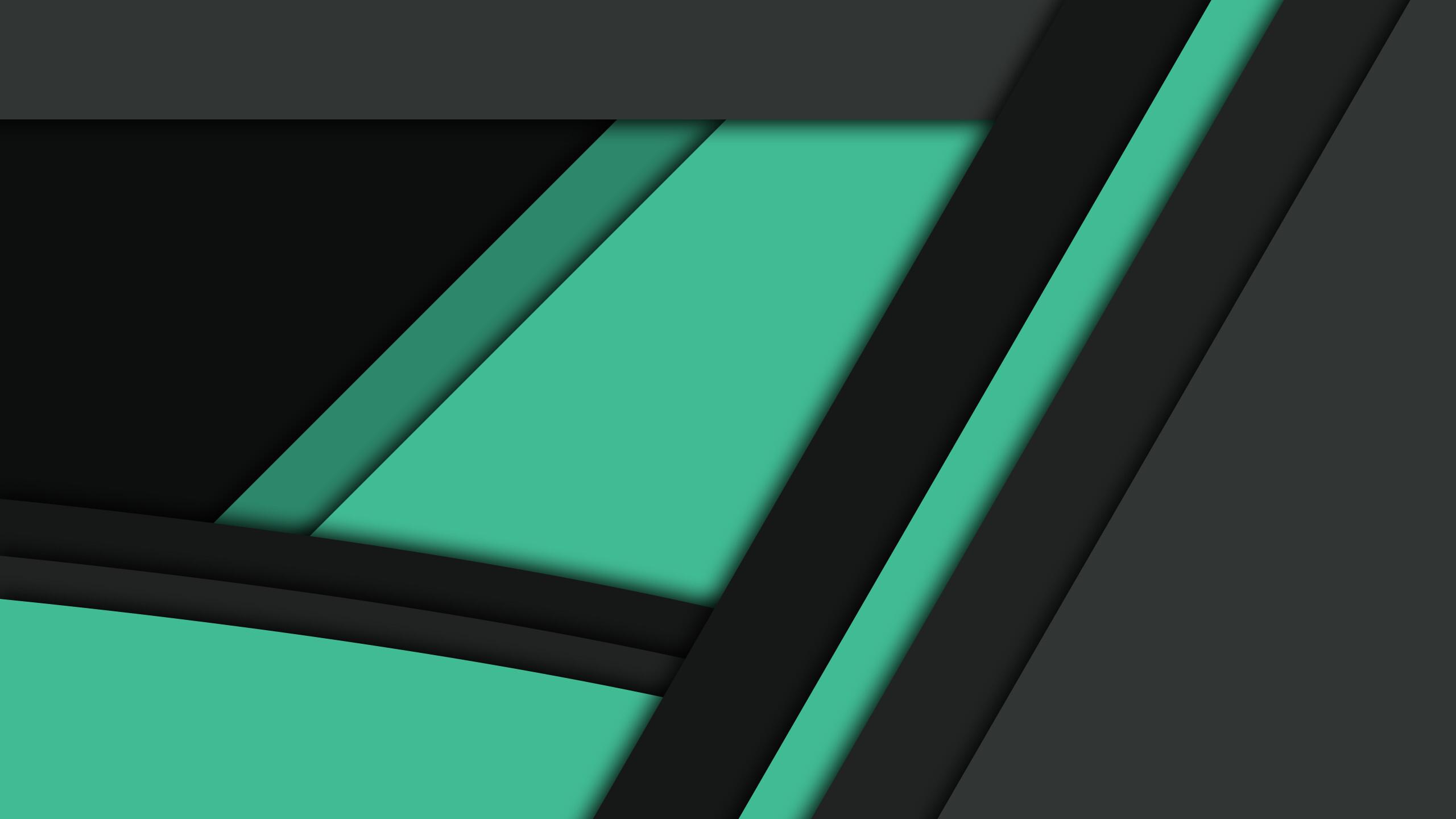 2560x1440 Black Green Material Design 1440P Resolution HD ...