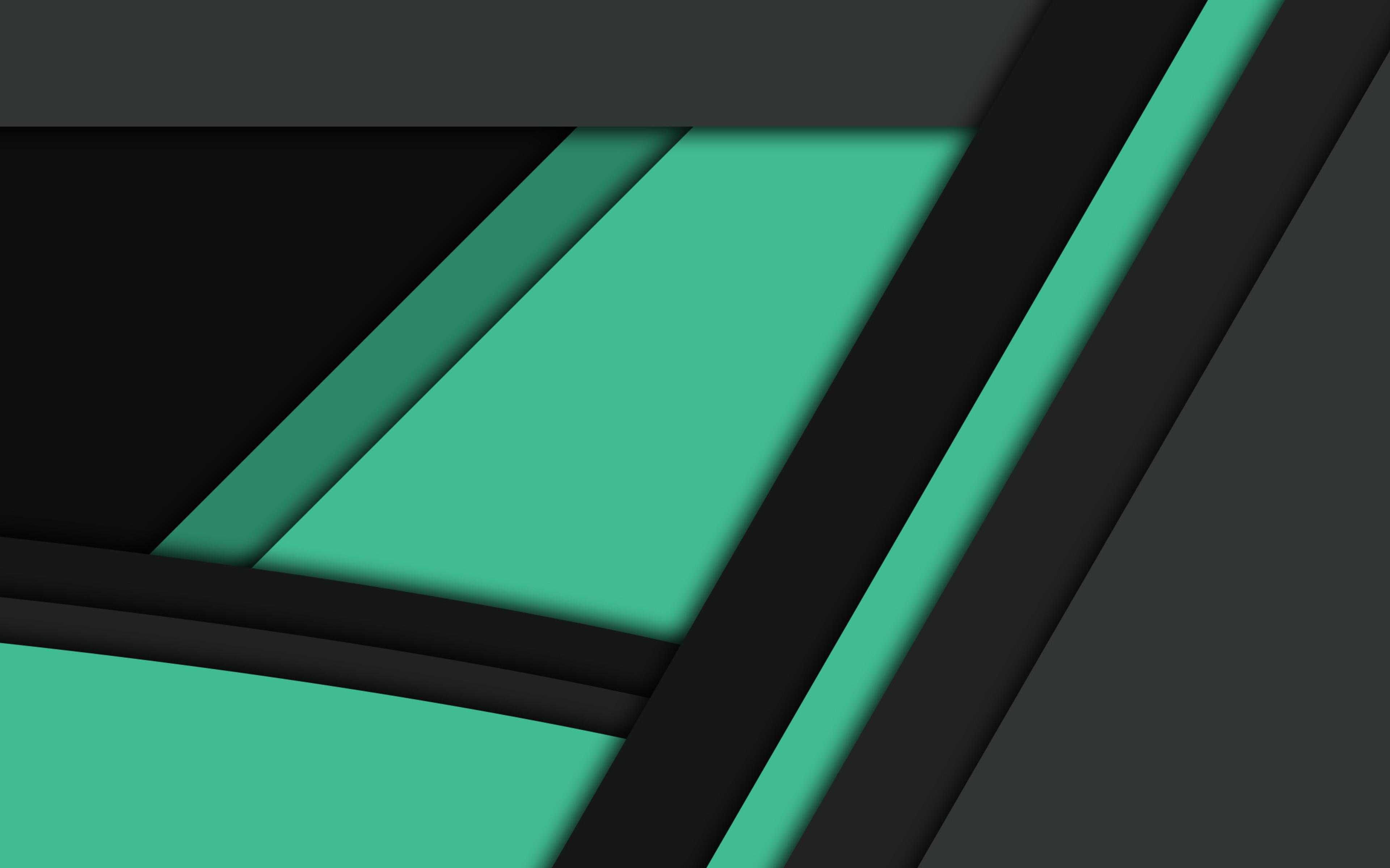 3840x2400 Black Green Material Design 4k HD 4k Wallpapers ...