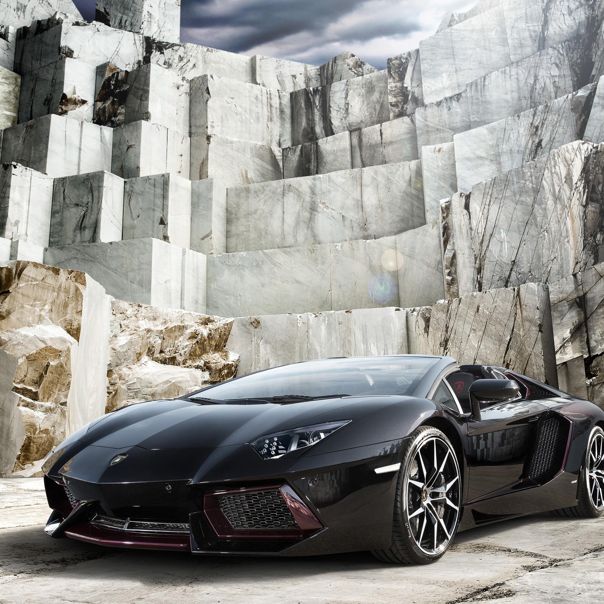 2048x2048 Black Lamborghini Aventador 4k Ipad Air HD 4k ...