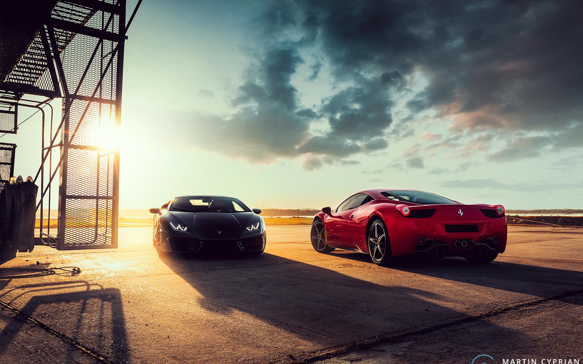 Black Lamborghini Huracan And Ferrari 458 Red Ww