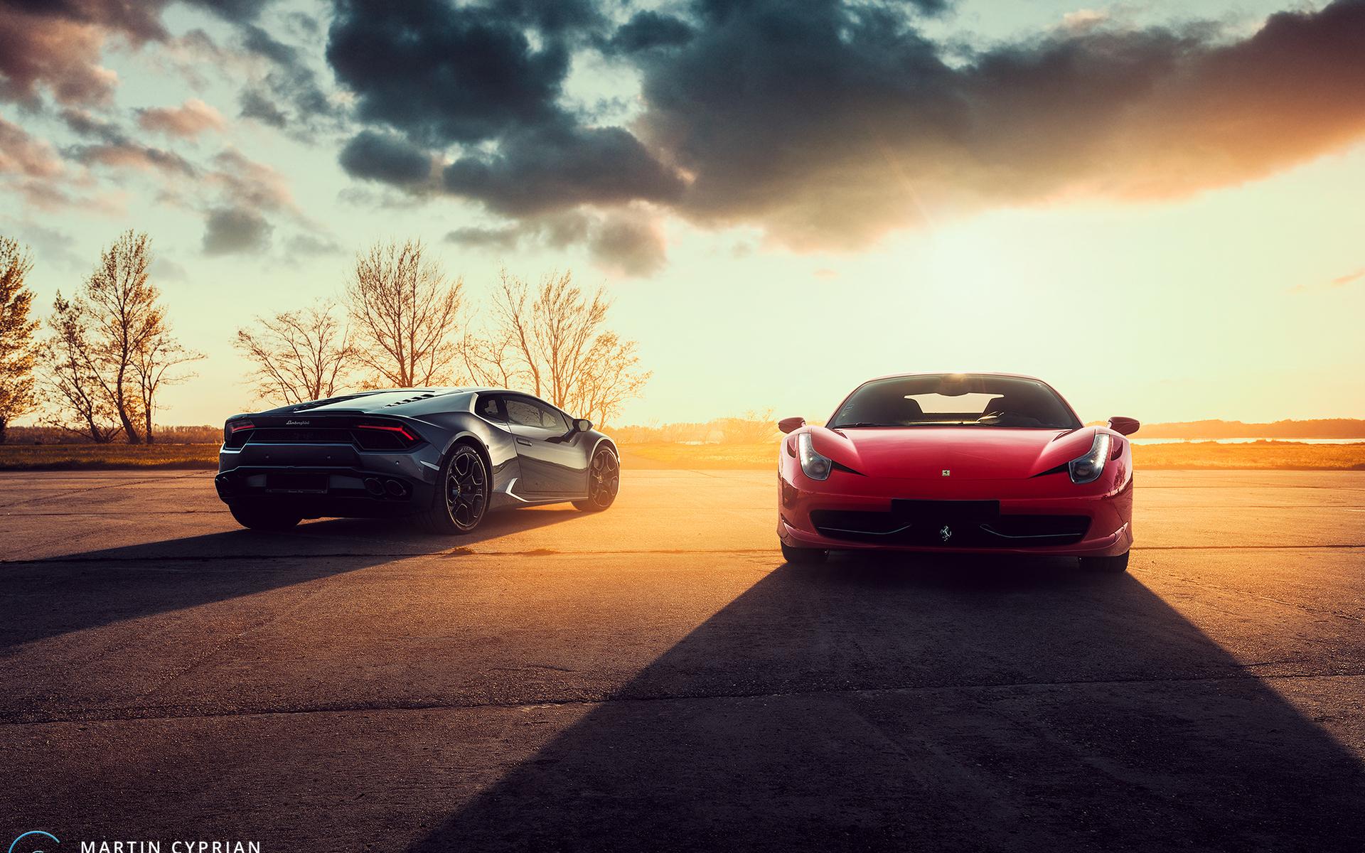 Black Lamborghini Huracan And Red Ferrari 458 Zs