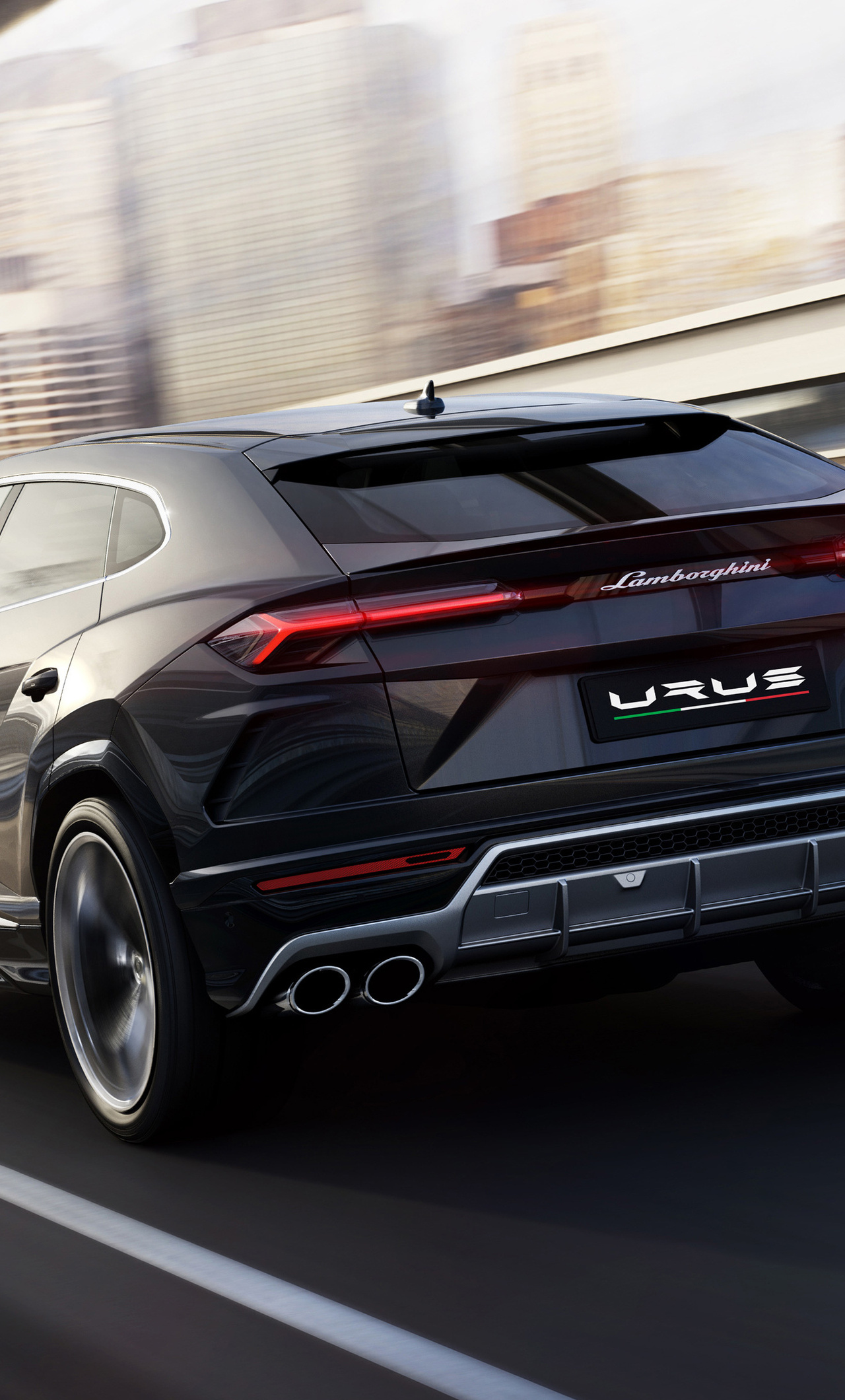 1280x2120 black lamborghini urus rear side 2018 iphone 6+ hd 4k