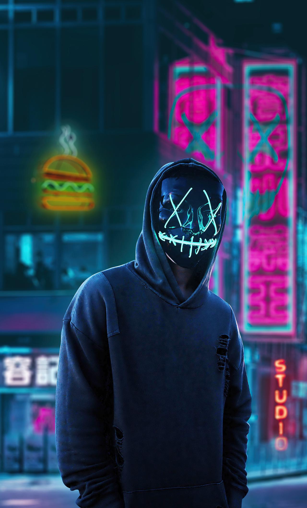 1280x2120 Black Mask Hoodie Boy In City 4k iPhone 6+ HD 4k ...