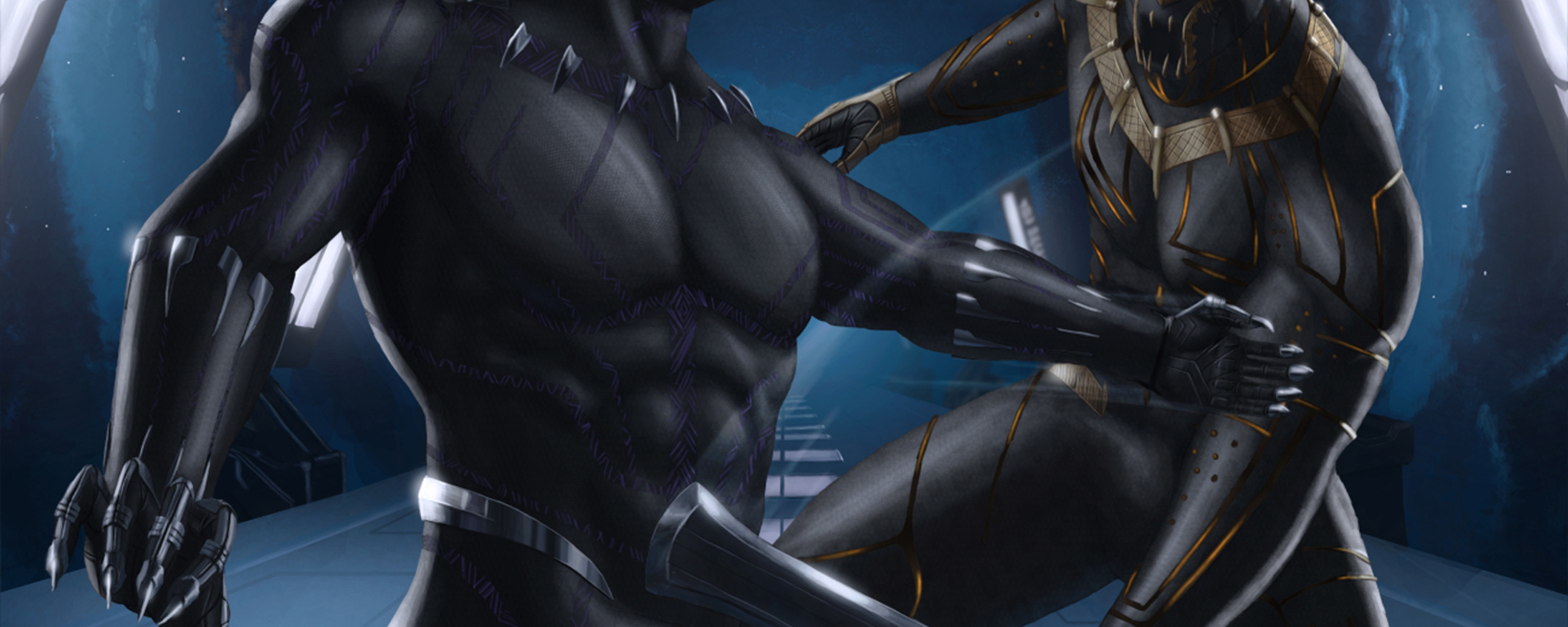 2560x1024 Black Panther And Erik Killmonger Artwork 2560x1024 Resolution HD 4k Wallpapers, Images, Backgrounds, Photos and Pictures