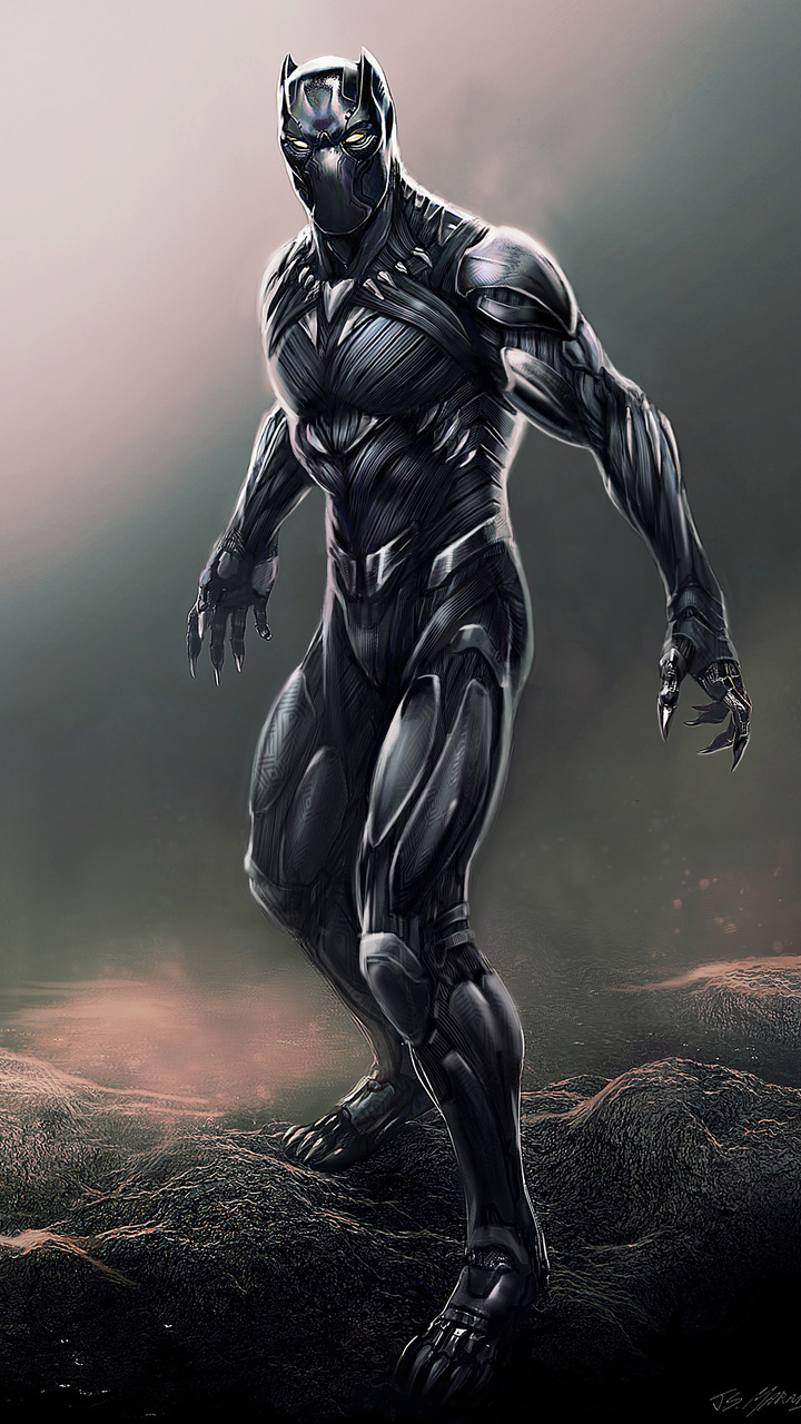 720x1280 black panther digital artwork moto g,x xperia z1,z3 compact
