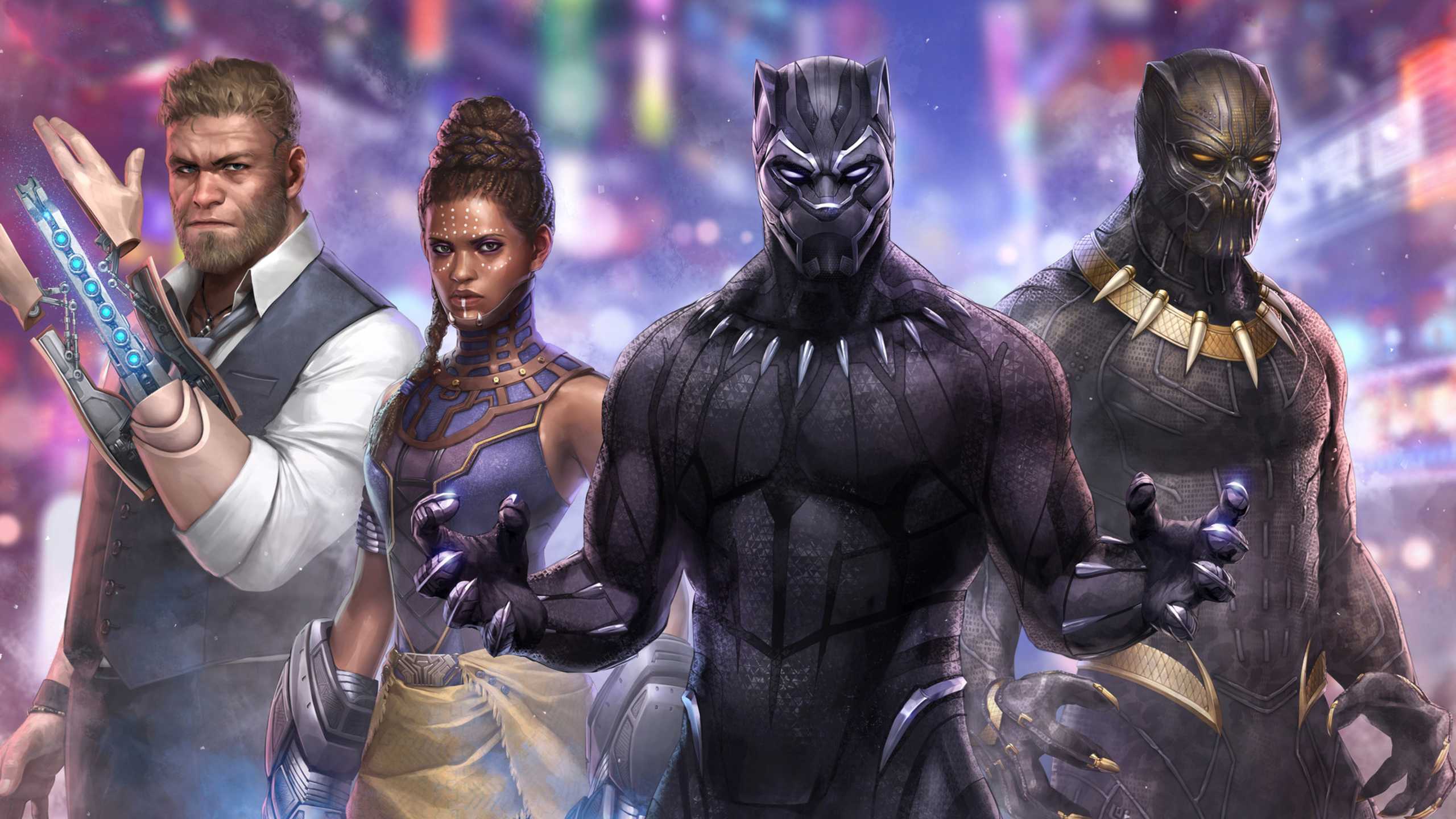2560x1440 Black Panther Marvel Fight 1440p Resolution Hd 4k