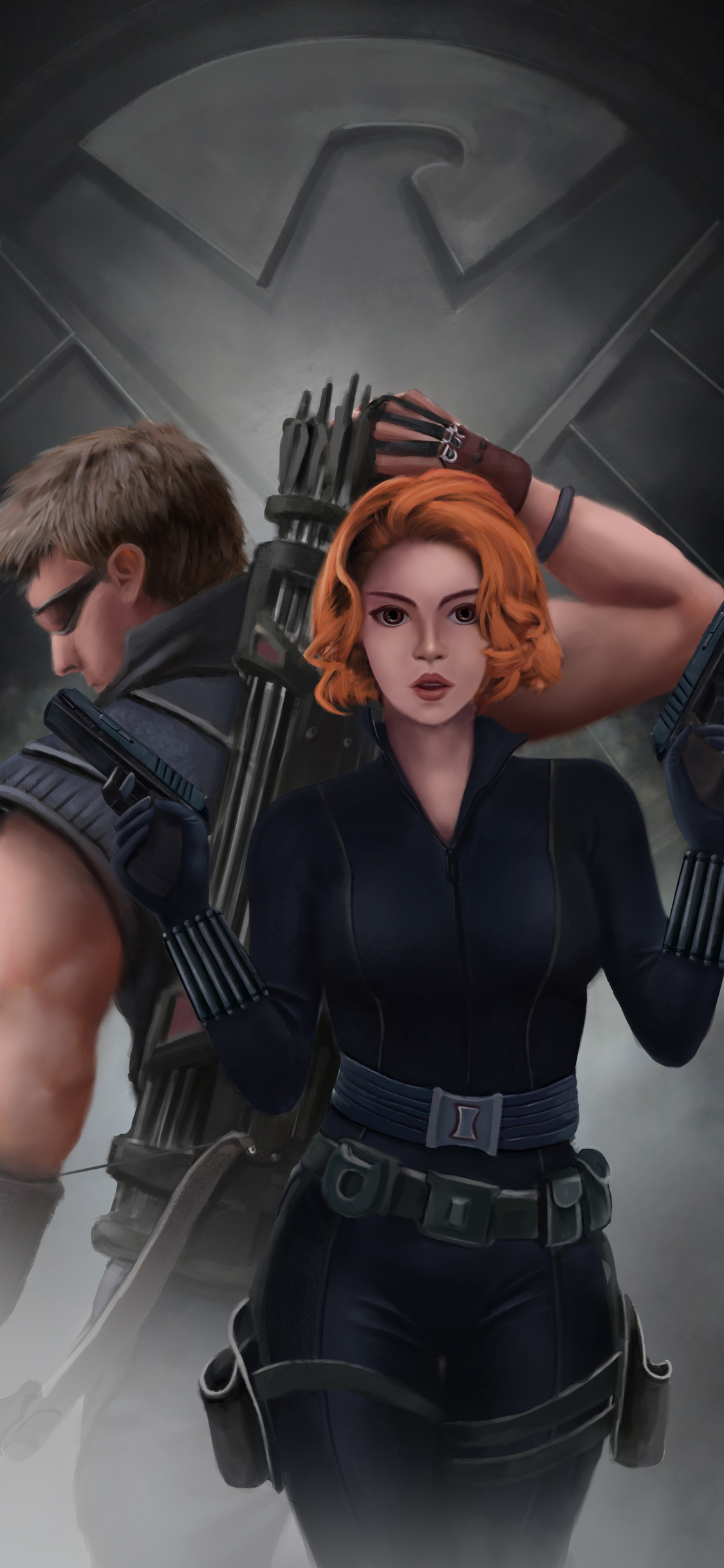 1125x2436 Black Widow And Hawkeye Iphone Xs Iphone 10 Iphone