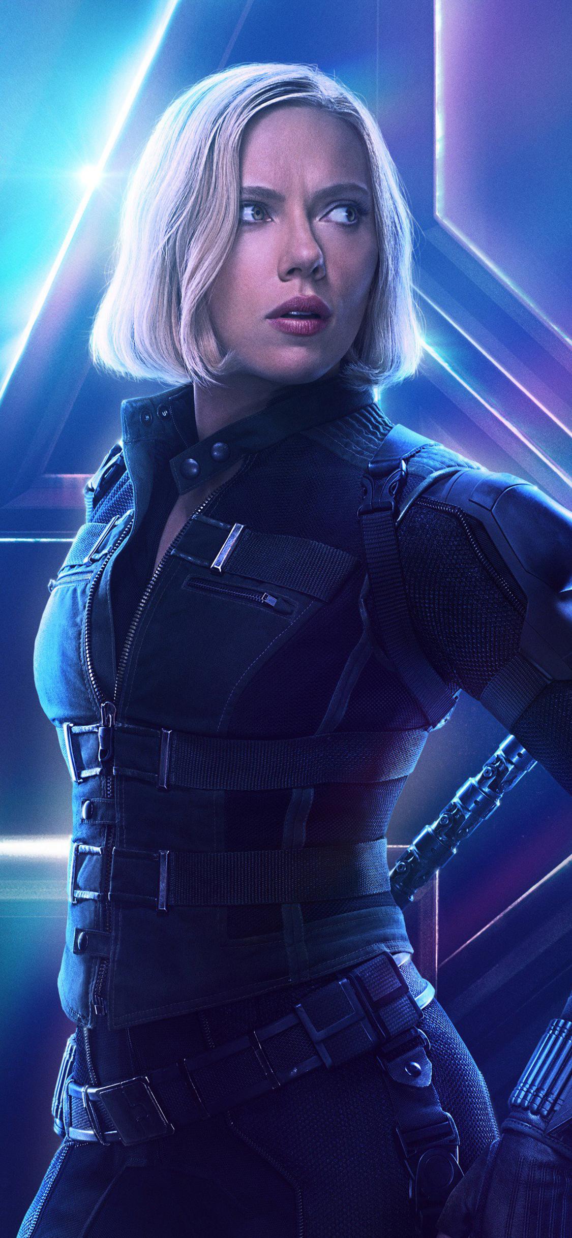 1125x2436 Black Widow In Avengers Infinity War New Poster ...