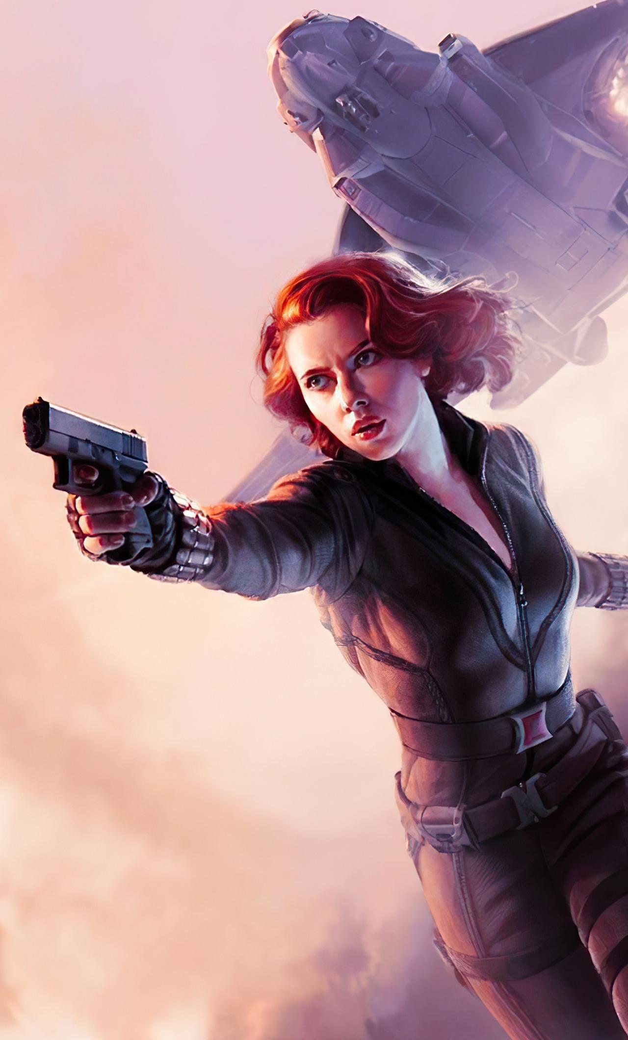 1280x2120 Black Widow With Gun Artwork iPhone 6+ HD 4k ...