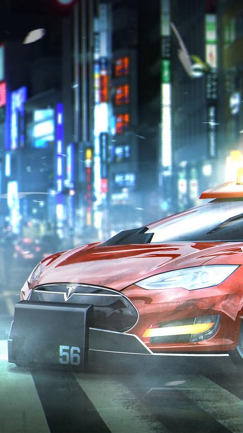 480x854 blade runner deckards sedan tesla model s android one hd 4k wallpapers images - Tesla wallpaper android ...