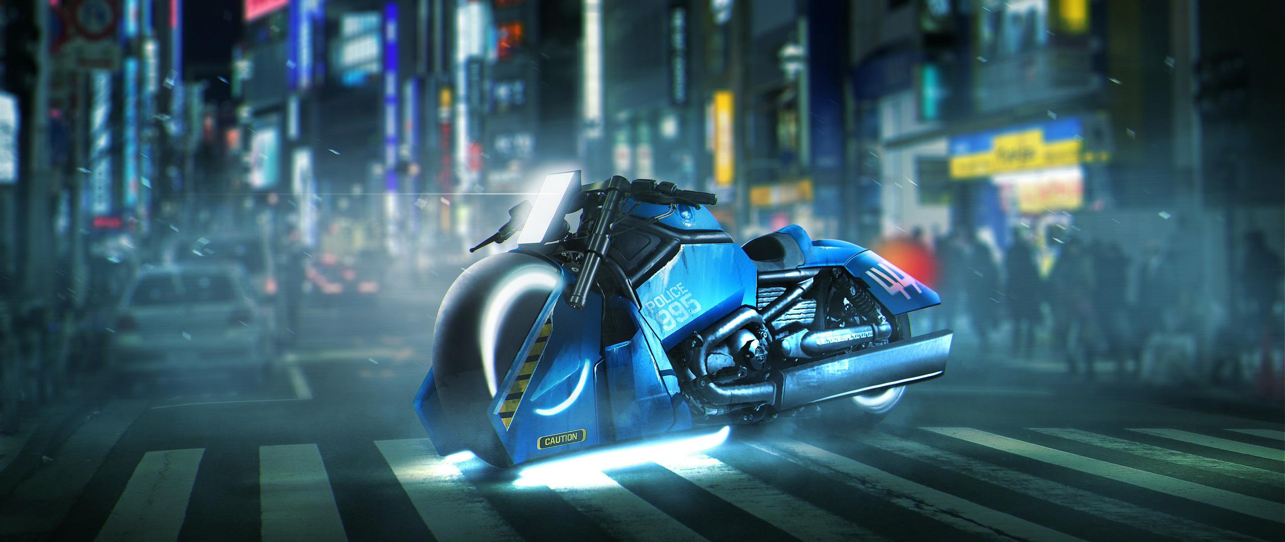 2560x1080 Blade Runner Spinner Bike Harley Davidson V Rod Muscle