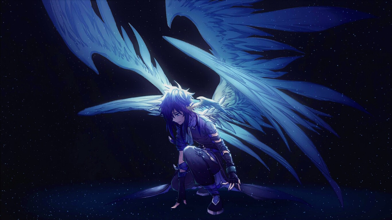 1366x768 Blue Angel With Wings Anime 1366x768 Resolution Hd