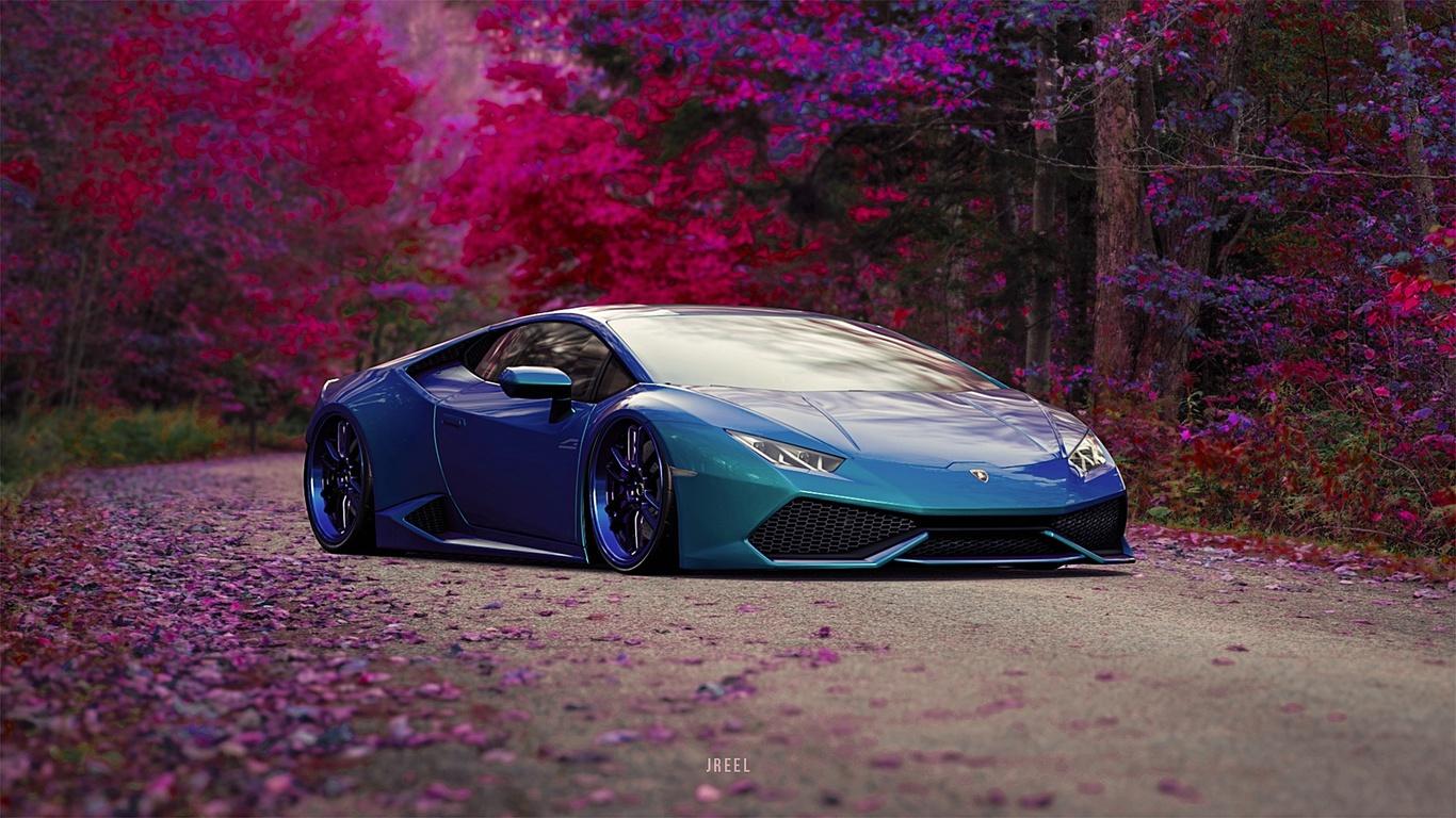 1366x768 Blue Lamborghini Huracan Car 1366x768 Resolution ...