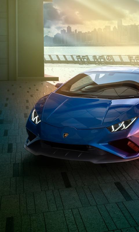 480x800 Blue Lamborghini Huracan Rear 4k Galaxy Note,HTC ...