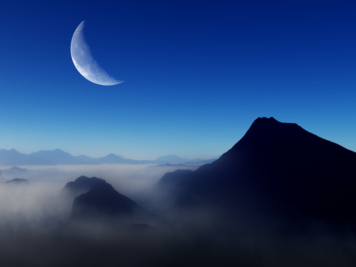 1152x864 Blue Morning Moon Nature 4k 1152x864 Resolution ...