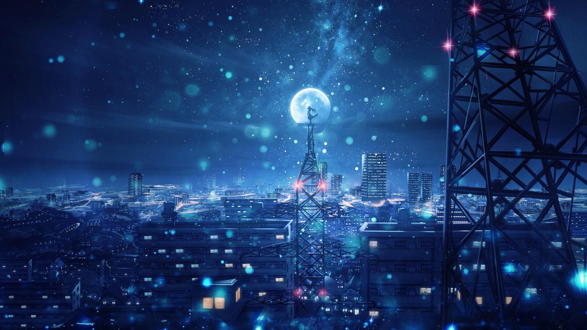 1920x1080 blue night big moon anime scenery 4k laptop full - Anime background wallpaper 4k ...