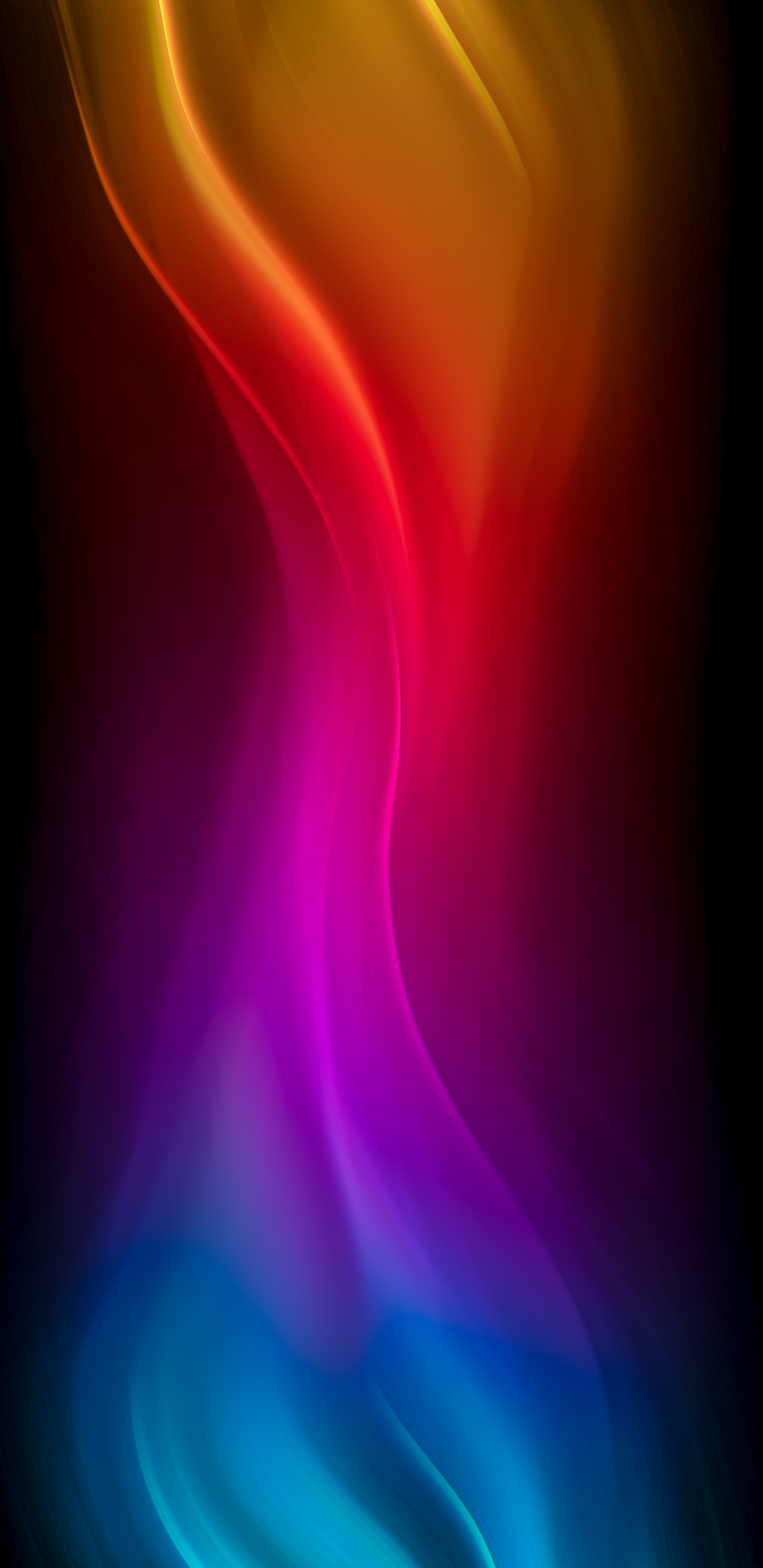 blue purple red yellow waves 4k d7