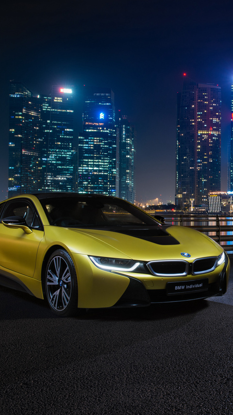480x854 Bmw I8 Frozen Yellow Edition Android One Hd 4k Wallpapers