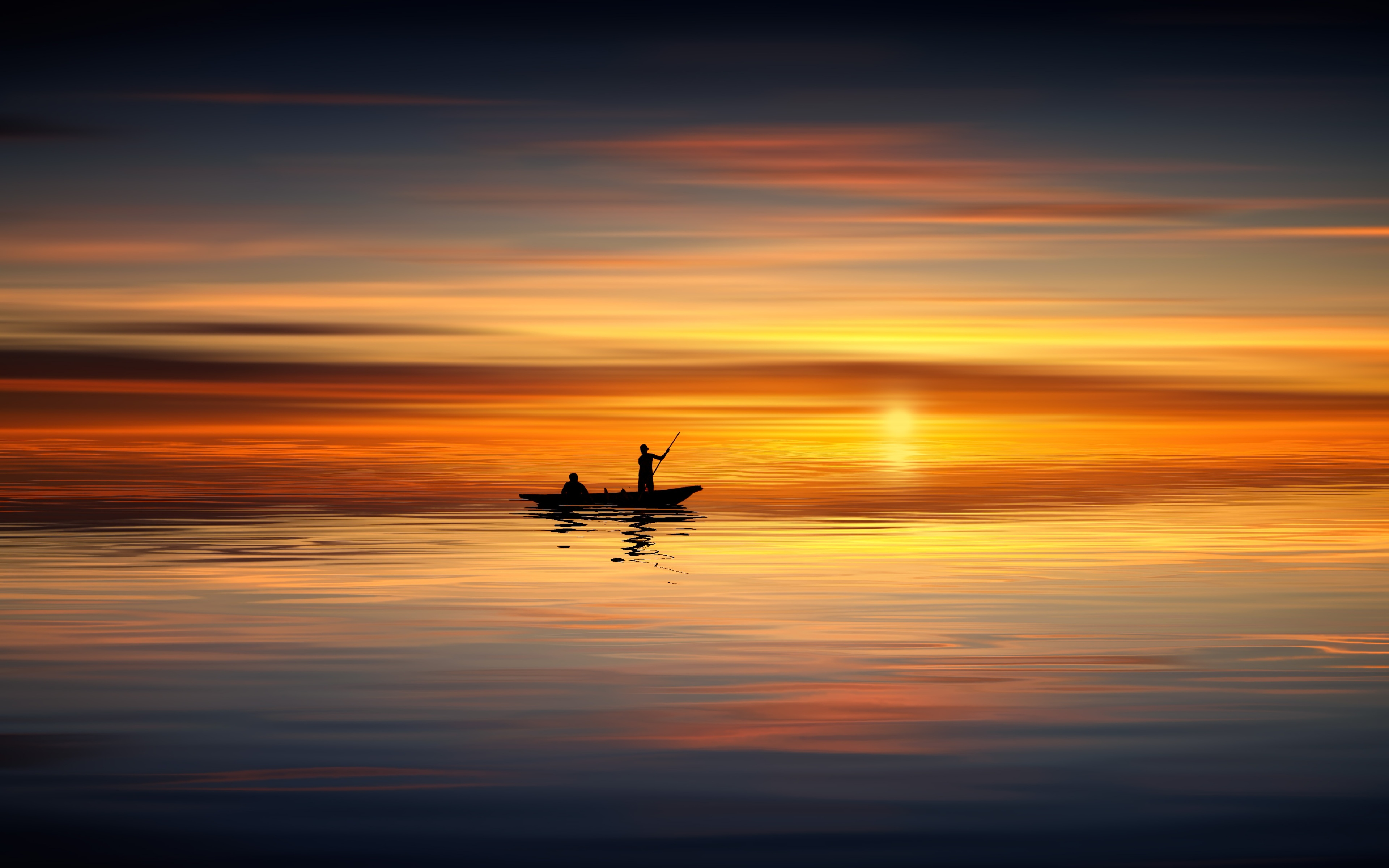 3840x2400 Boat Ocean Sunset Landscape 5k 4k HD 4k Wallpapers, Images,  Backgrounds, Photos and Pictures