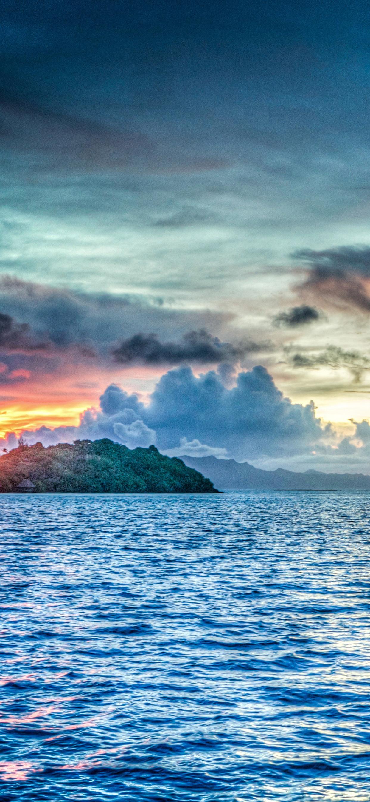 1242x2688 Bora Bora French Polynesia Sunset Ocean Pacific