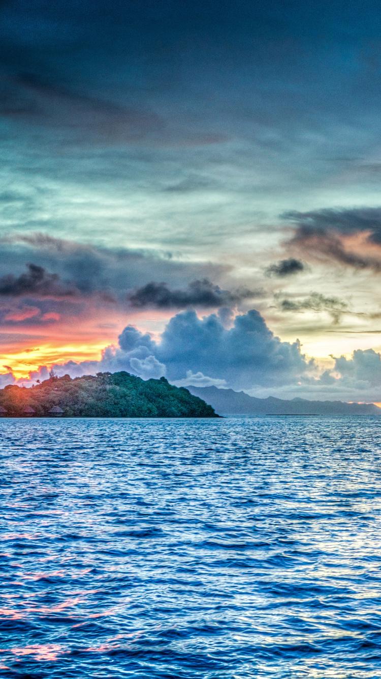 Bora French Polynesia Sunset Ocean Pacific N6