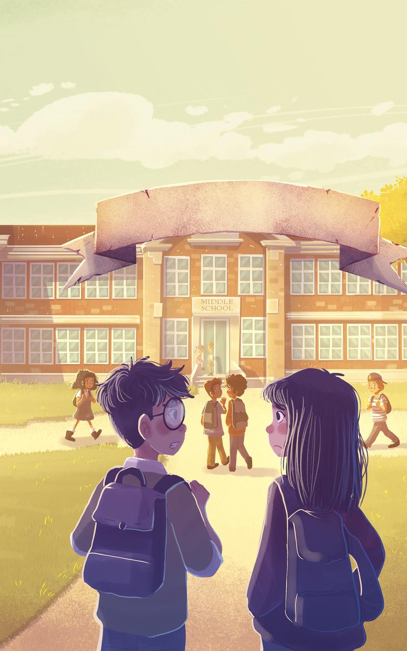 boy and girl going to school illustration uz