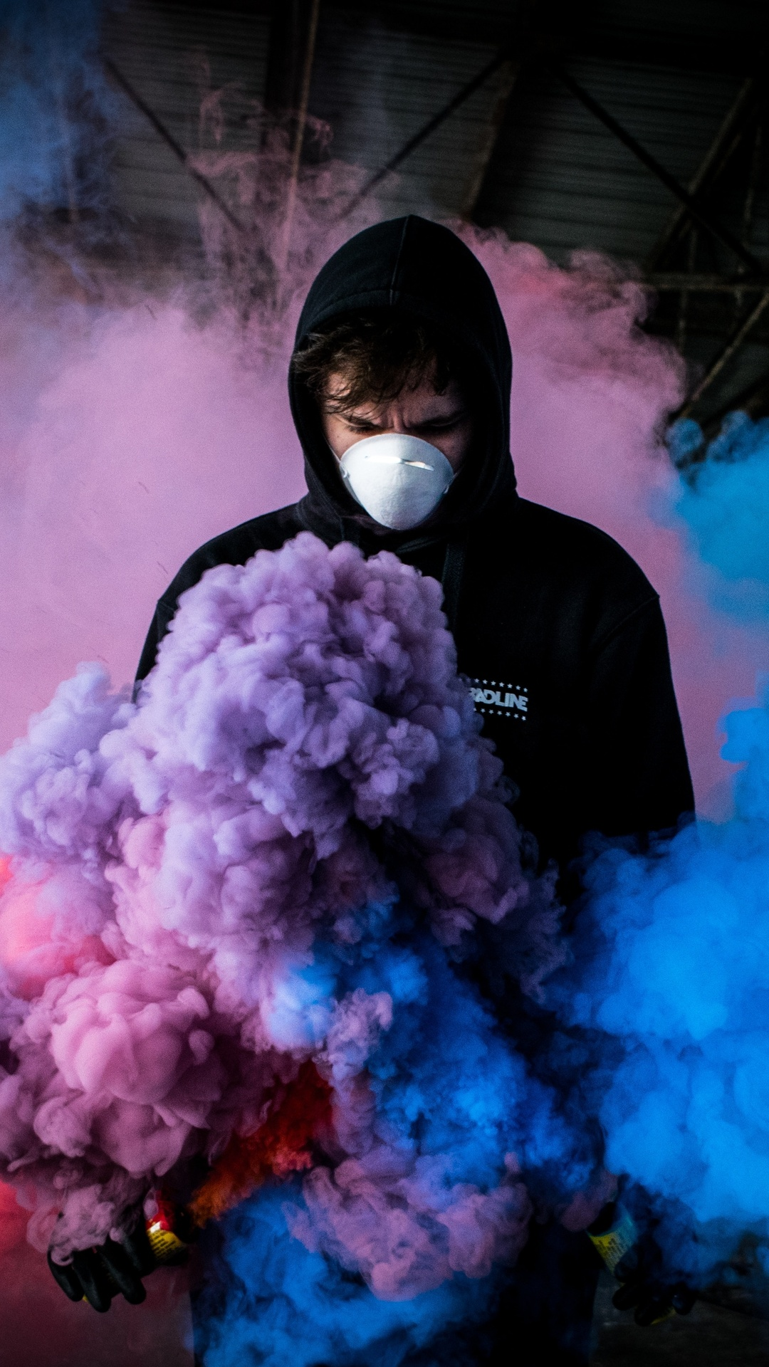1080x1920 Boy With Smoke Bomb Colorful 5k Iphone 7 6s 6 Plus Pixel