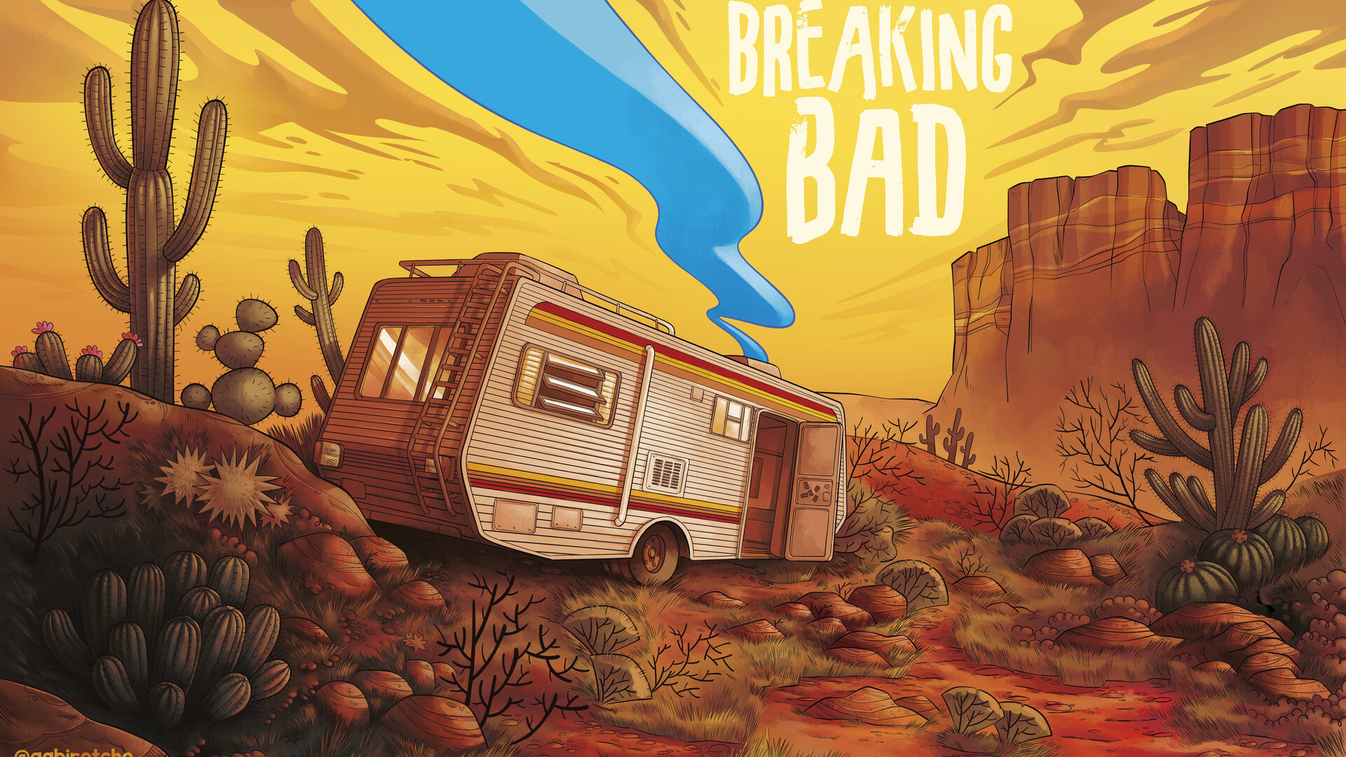 1920x1080 Breaking Bad Van Artwork Laptop Full Hd 1080p Hd 4k