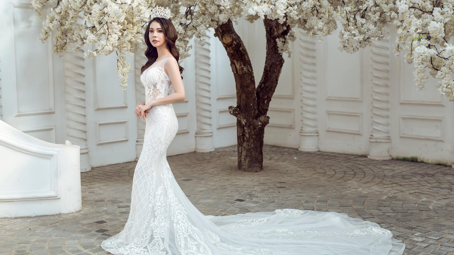 1920x1080 Bride Wedding Dress White Dress Laptop Full HD