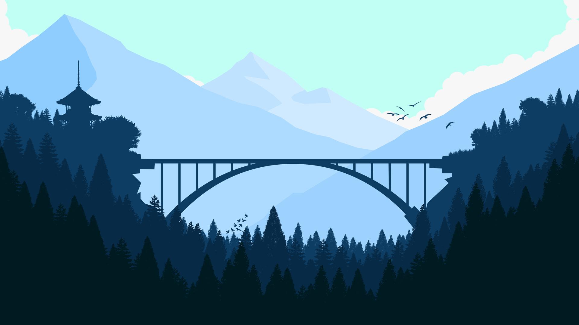 1920x1080 Bridge In Forest Minimalist 4k Laptop Full HD ...