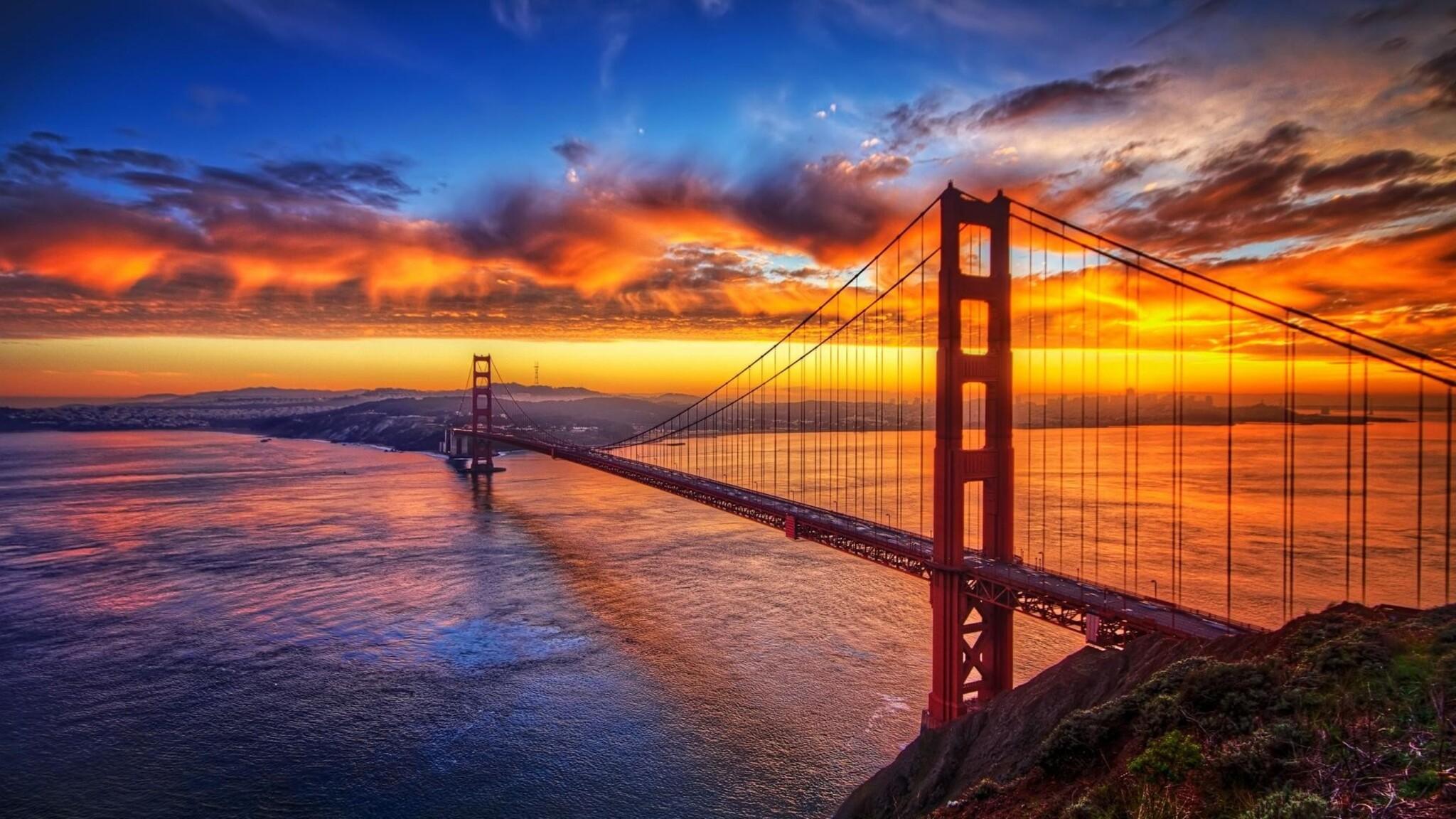 Download Wallpaper 1920x1080 River Sunset Bridge: 2048x1152 Bridge Sunset Sky 2048x1152 Resolution HD 4k