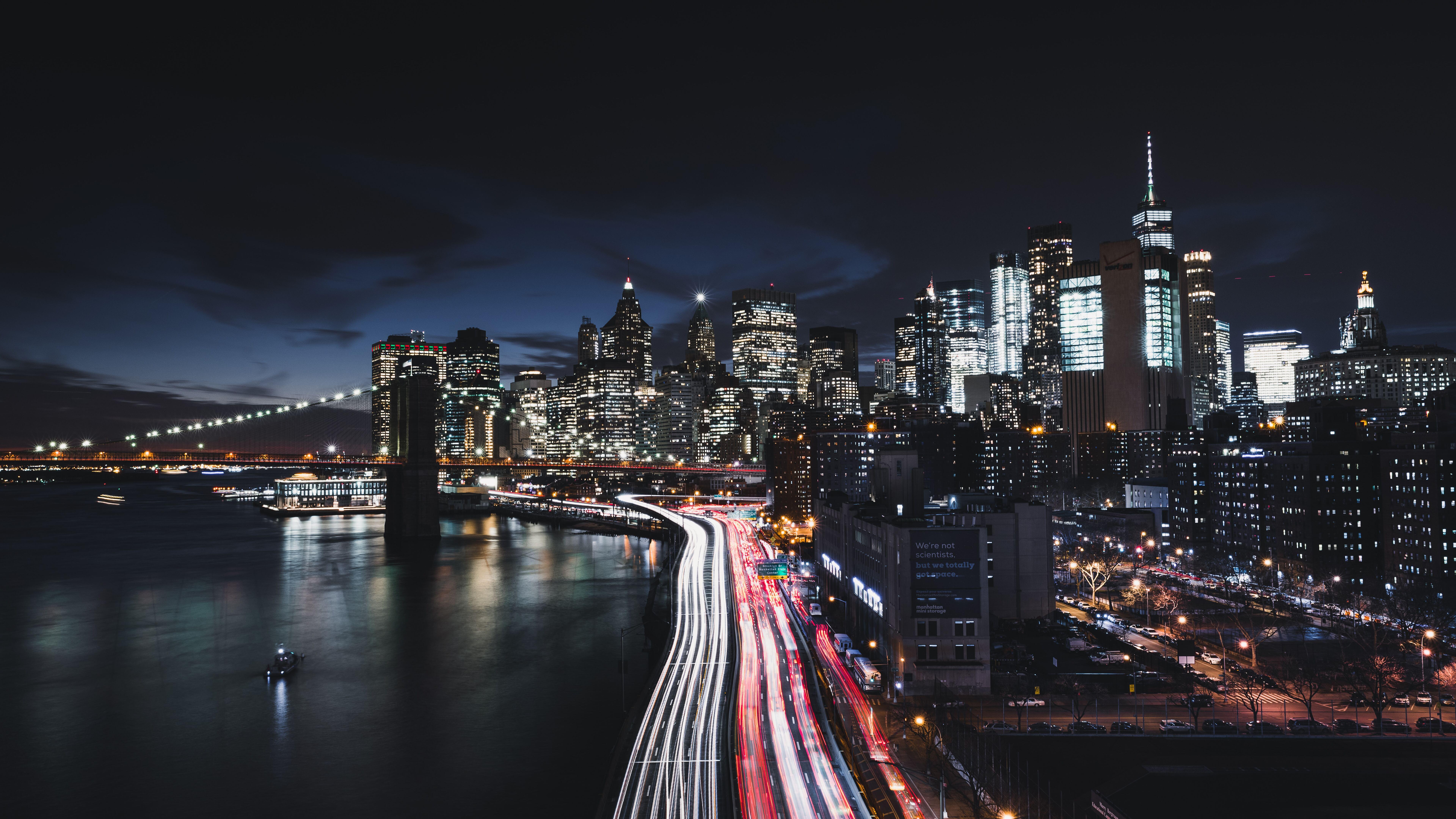 7680x4320 Brooklyn Bridge Cityscape Long Exposure Road