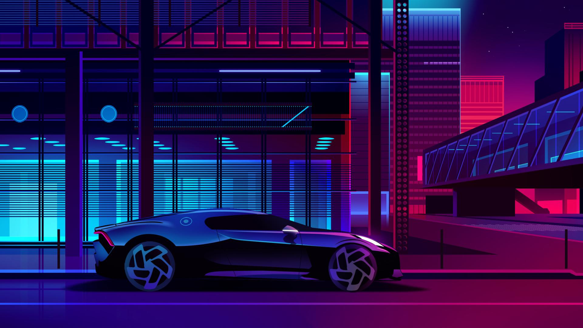 1920x1080 Bugatti Noire Neon Art Laptop Full HD 1080P HD 4k Wallpapers, Images, Backgrounds ...