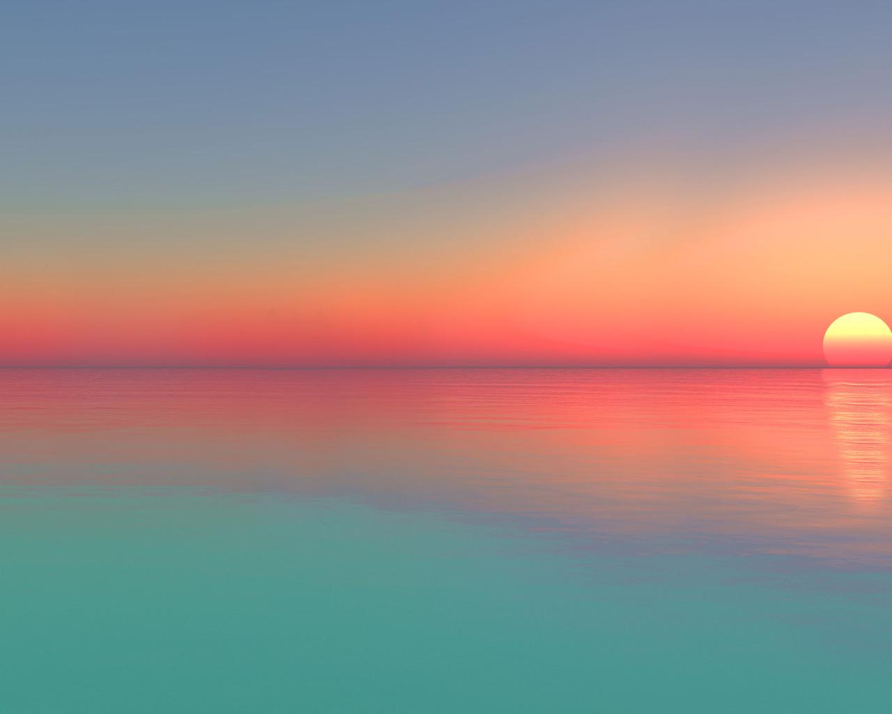 1280x1024 Calm Sunset Ocean Digital Art 5k 1280x1024 Resolution Hd