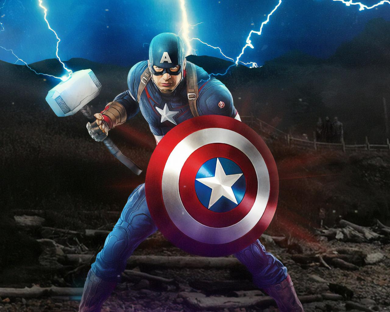 1280x1024 Captain America Mjolnir Avengers Endgame 4k ...