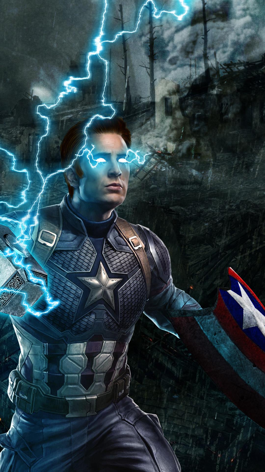 1080x1920 Captain America Mjolnir Avengers Endgame 4k Iphone 7 6s 6