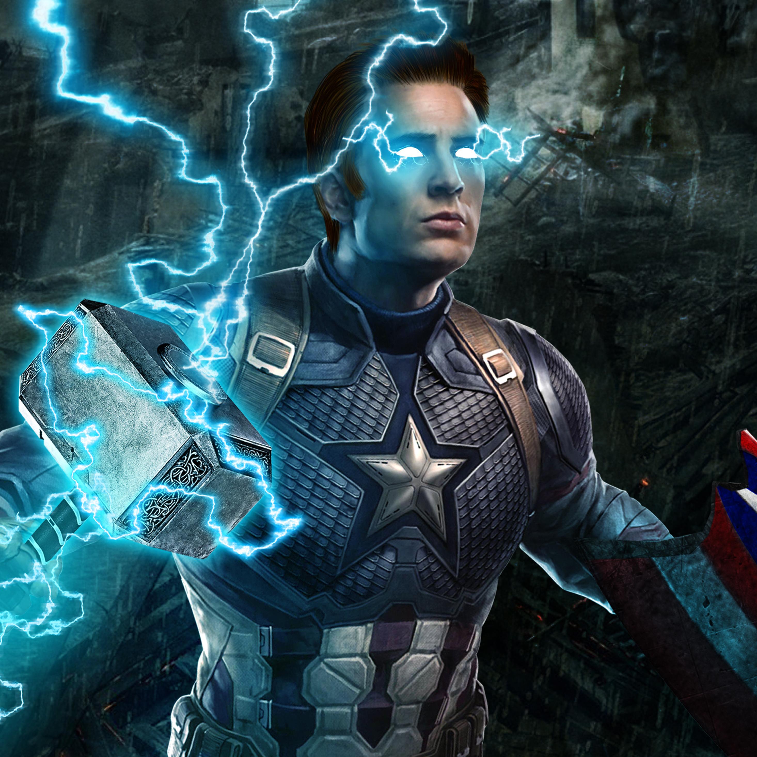 2932x2932 Captain America Mjolnir Avengers Endgame 4k Ipad