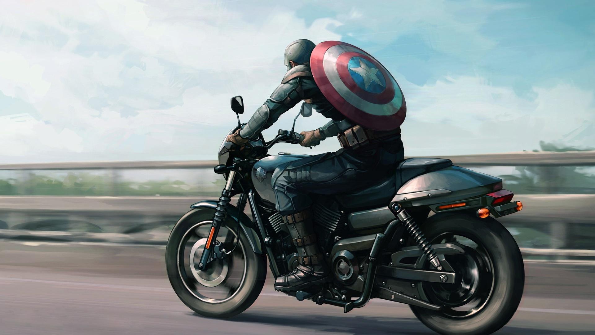 1920x1080 Captain America On Harley Davidson Motorcycle