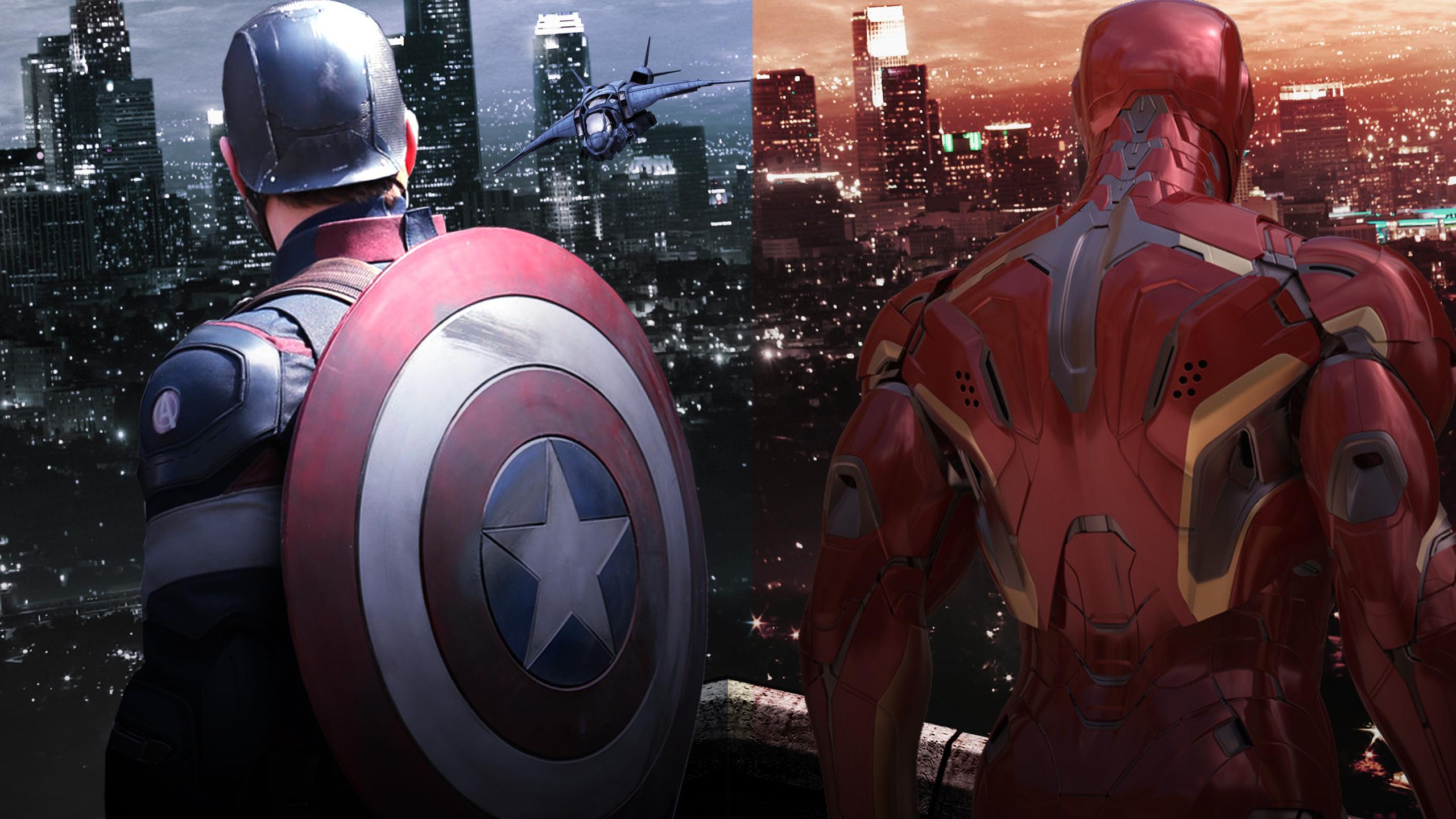2560x1440 Captain America Shield And Iron Man 1440p Resolution Hd