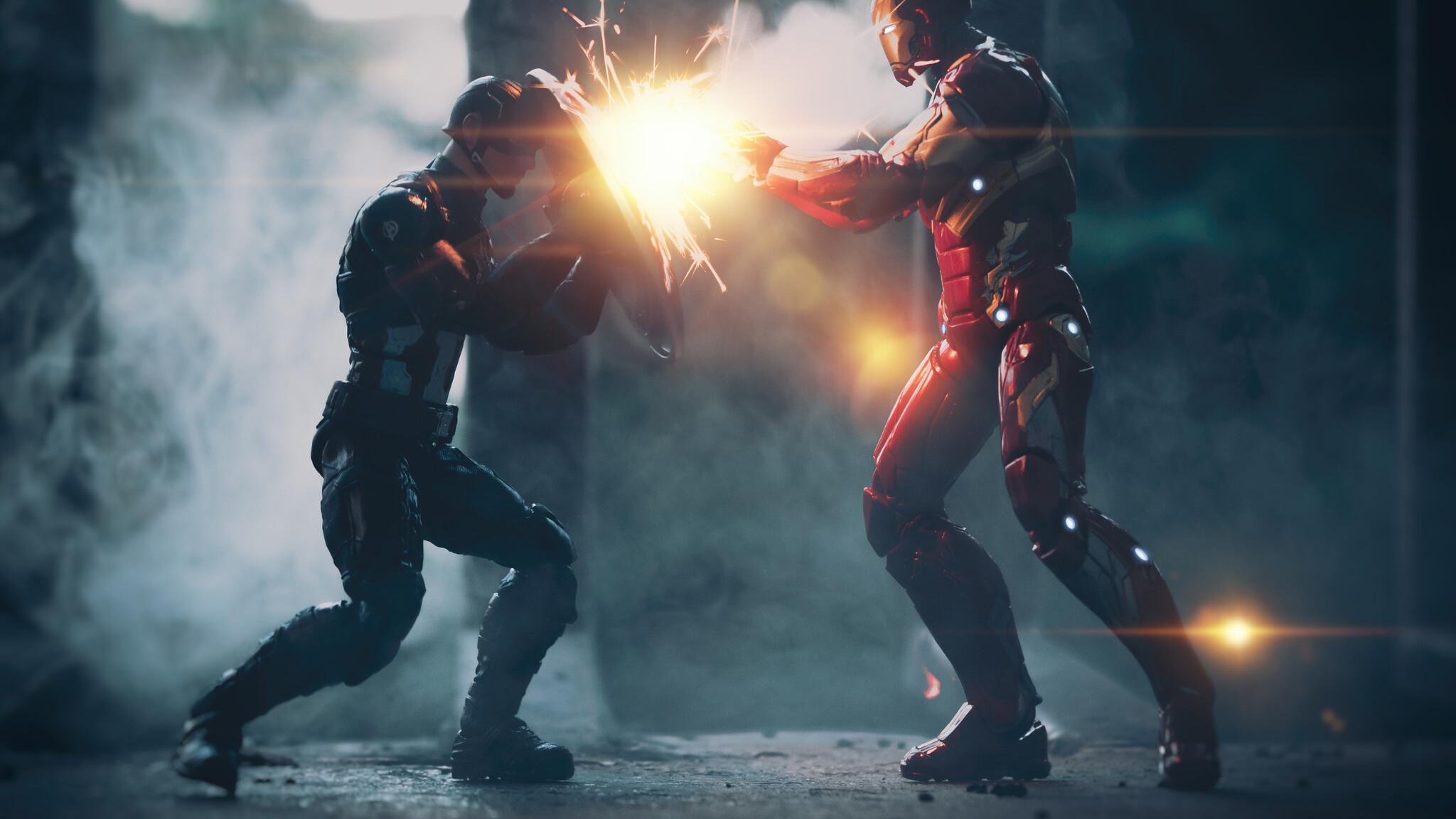 2048x1152 Captain America Vs Iron Man Artwork 5k 2048x1152