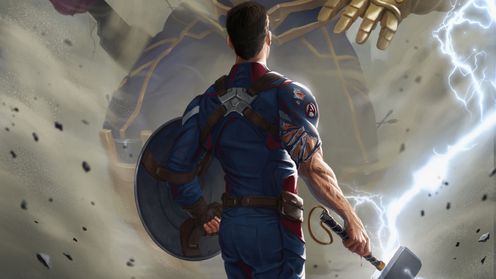 1920x1080 Captain America With Thor Hammer Laptop Full Hd 1080p Hd