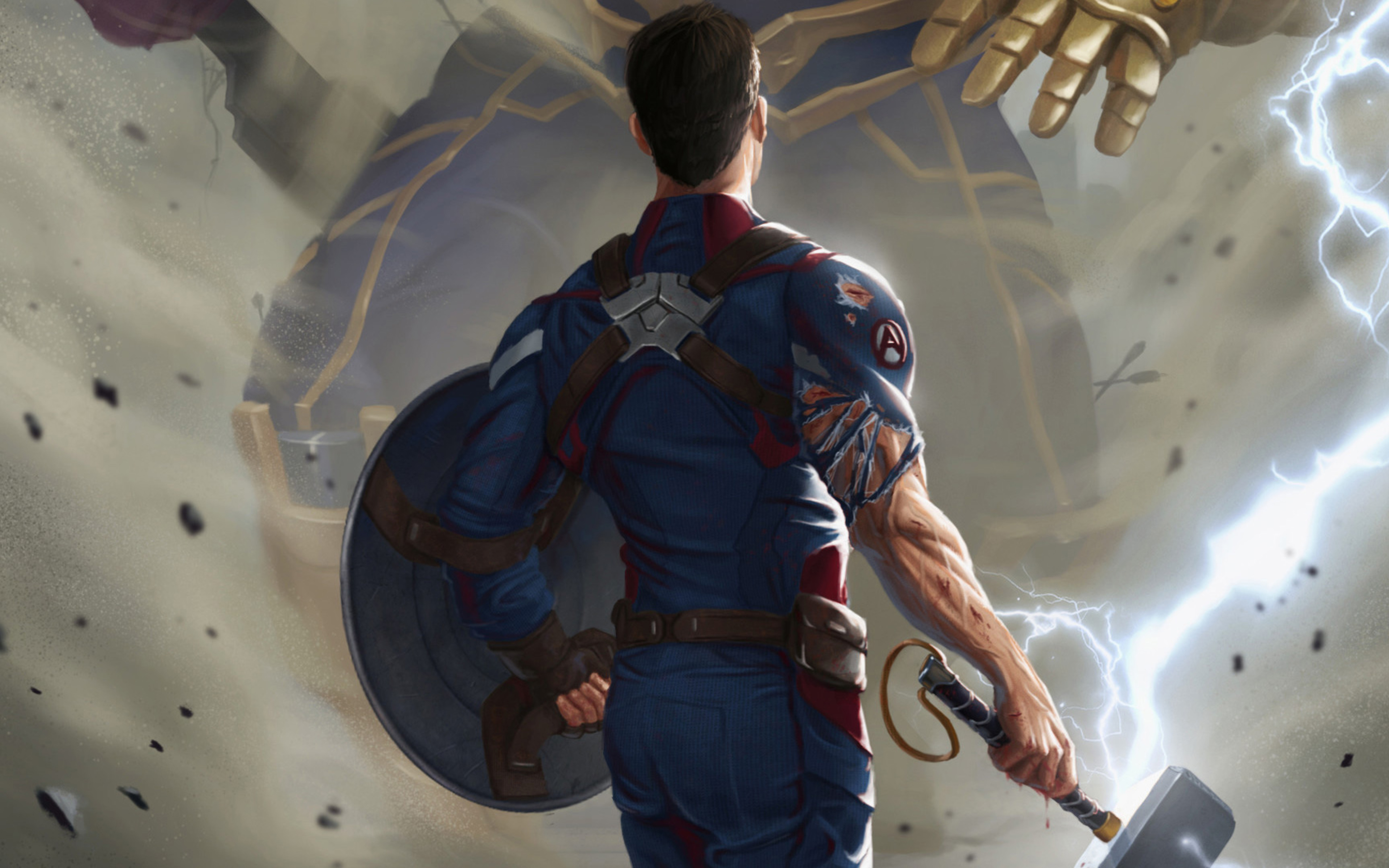 3840x2400 captain america with thor hammer 4k hd 4k wallpapers images backgrounds photos and - Thor hammer hd pics ...