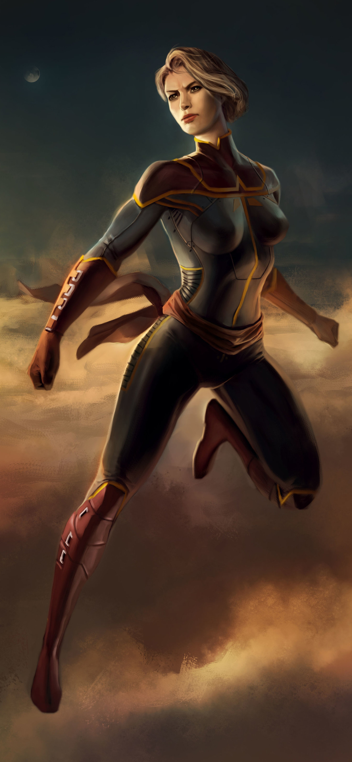 1125x2436 Captain Marvel Art Iphone Xs Iphone 10 Iphone X Hd