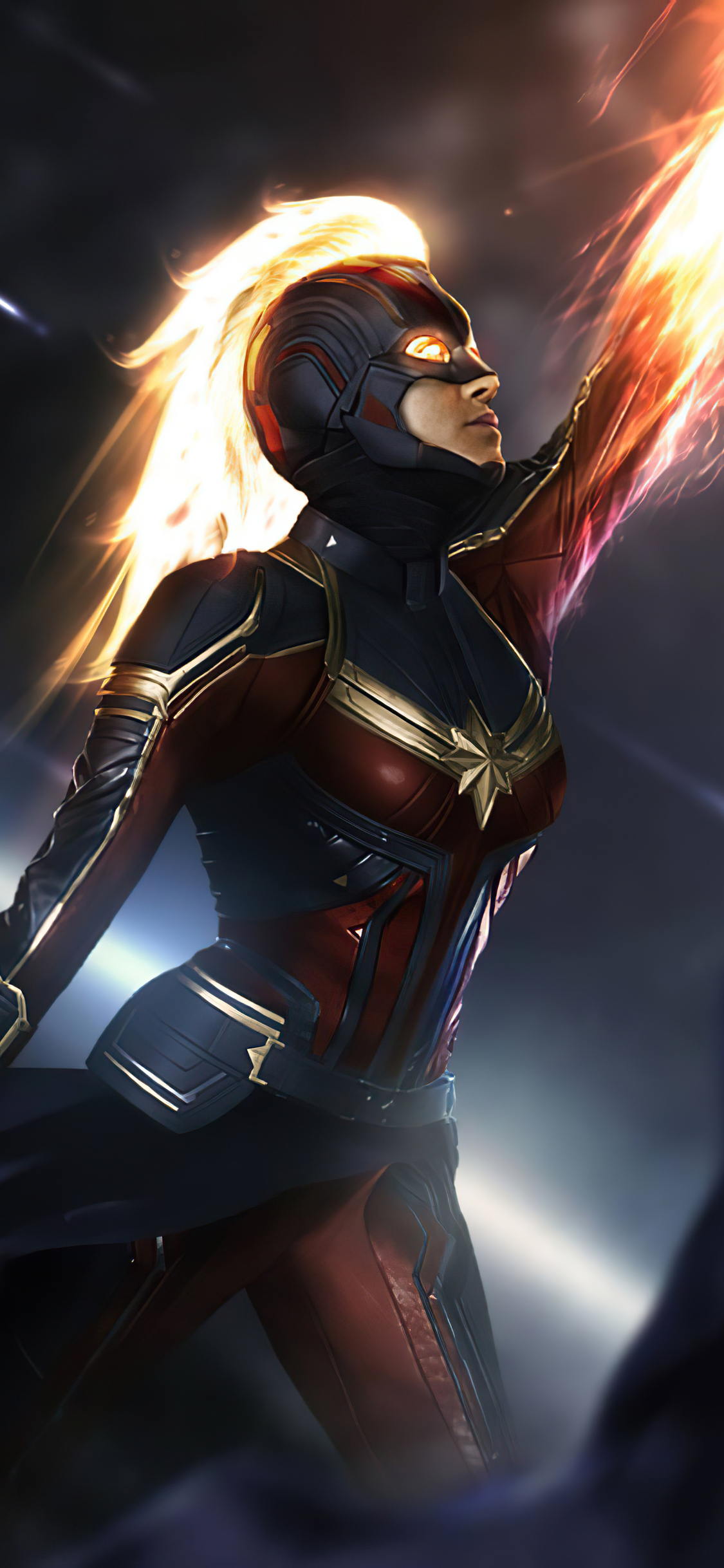 1125x2436 Captain Marvel Fire 4k Iphone Xs Iphone 10 Iphone X Hd 4k Wallpapers Images Backgrounds Photos And Pictures