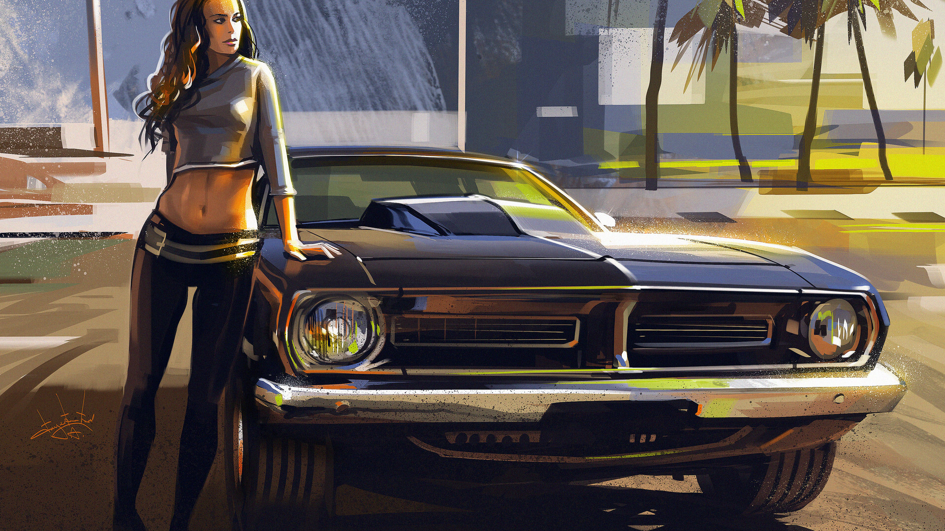 1001 1 Hd Image Fix Cars Free Download Hd Wallpapers: 1920x1080 Car And Girl Artwork Laptop Full HD 1080P HD 4k