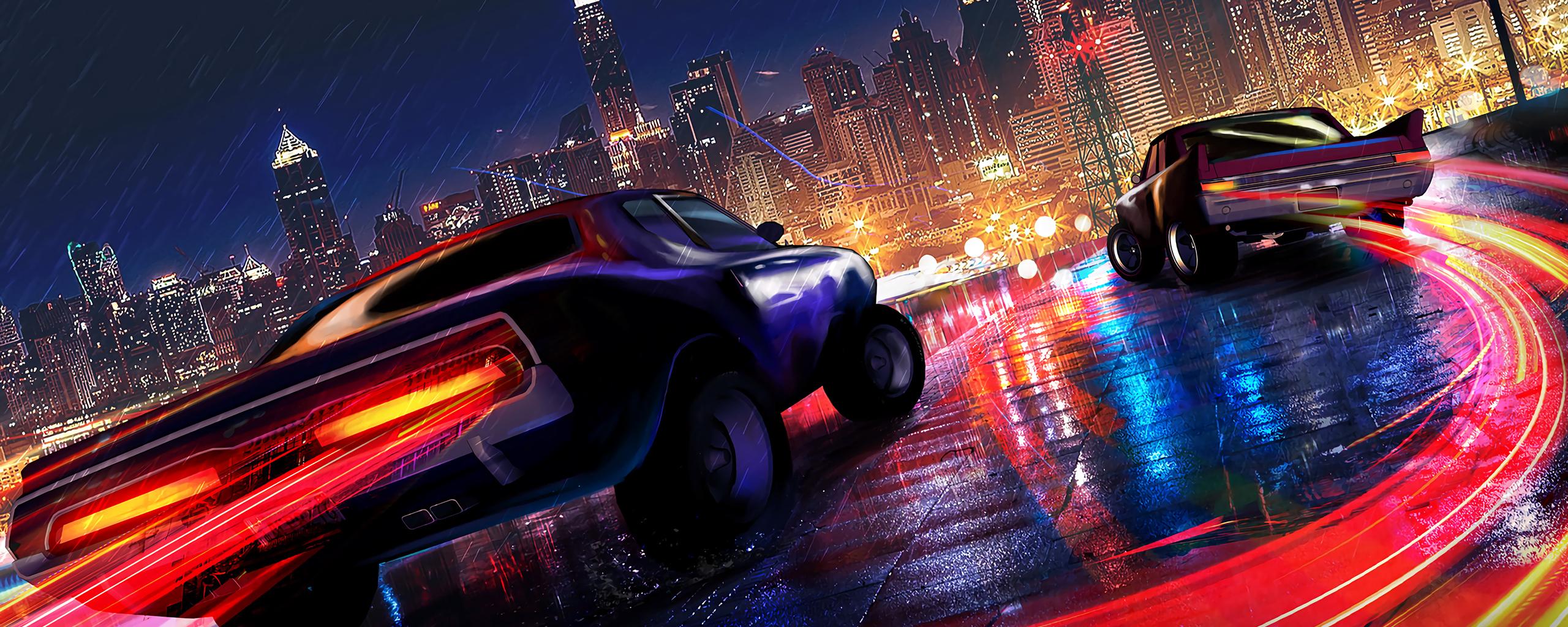 2560x1024 Car Drifting Neon Lights 4k 2560x1024 Resolution ...