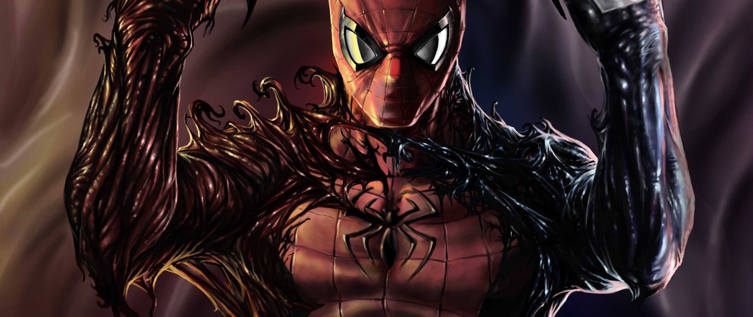 2560x1080 Carnage Venom Spiderman Artwork 2560x1080 ...