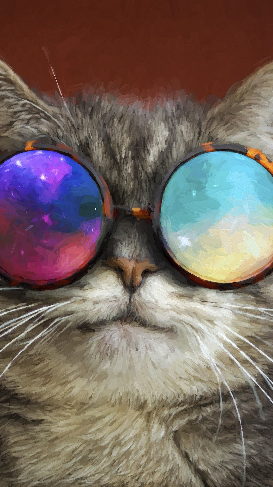 1080x1920 Cat Glasses Party Cool Painting Iphone 7 6s 6 Plus Pixel
