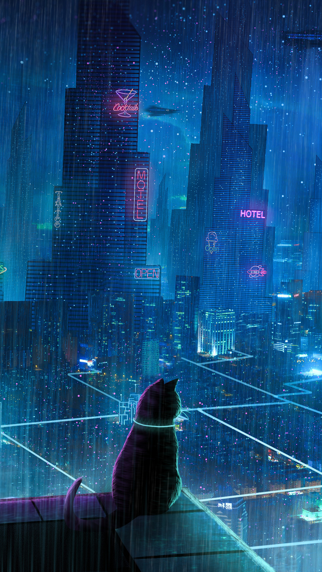 1080x1920 Cat Rain Dream Cyberpunk City 4k Iphone 7 6s 6 Plus